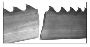 band saw blade with body breakage from back edge