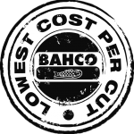 "BAHCO bandsaw blade logo within a circle stating ""Lowest Cost Per Cut"""